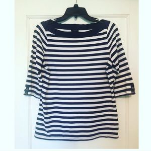 Ann Taylor Boat Neck Navy Striped Shirt